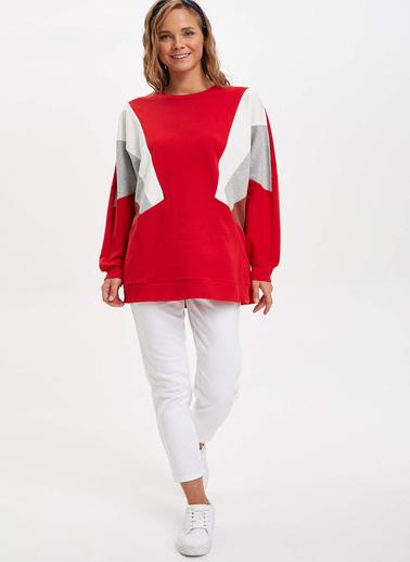 DeFacto Renk Bloklu Sweat Tunik Kırmızı